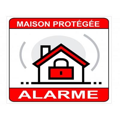 Autocollant et panneau alarme maison protégée