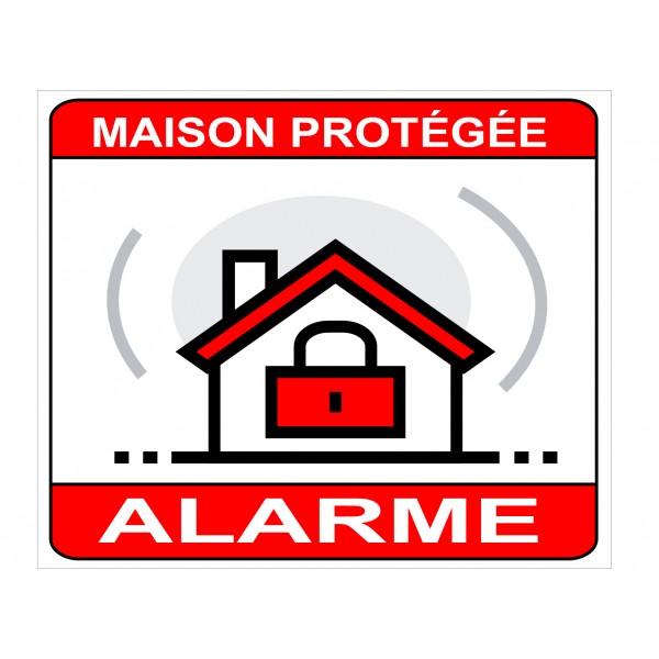 Autocollant ou panneau alarme maison protégée