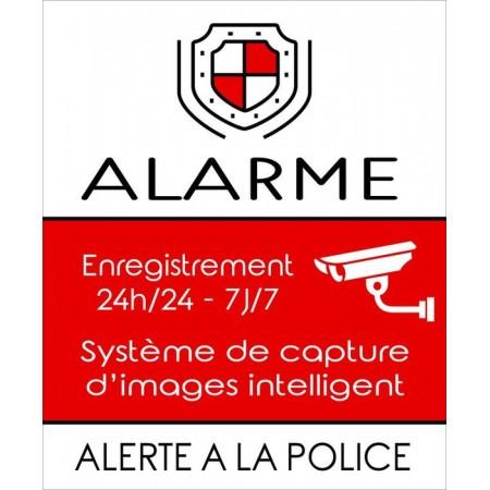 Autocollant ou plaque alarme enregistrement images 24h/24 - 7j/7