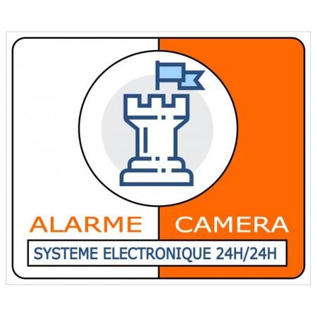 Autocollant et plaque alarme et système de vidéosurveillance électronique