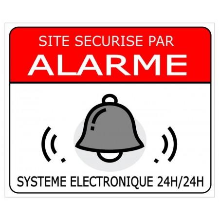 Site sécurisé par alarme avec système électronique, autocollant et plaque PVC