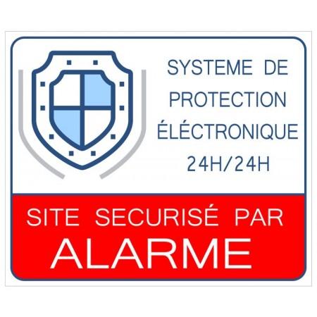Autocollant ou plaque rigide site sécurisé par alarme 24h/24