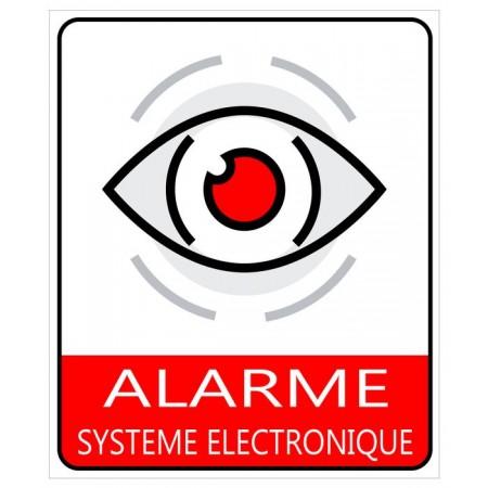 Autocollant ou plaque alarme électronique protection maison et entreprise