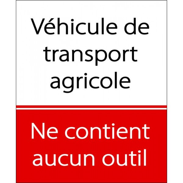 Autocollant véhicule transport agricole ne contie...