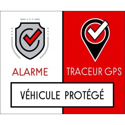 Autocollant alarme GPS véhicule protégé
