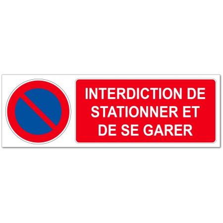 Panneau ou adhésif rectangulaire interdit de se garer et de stationner