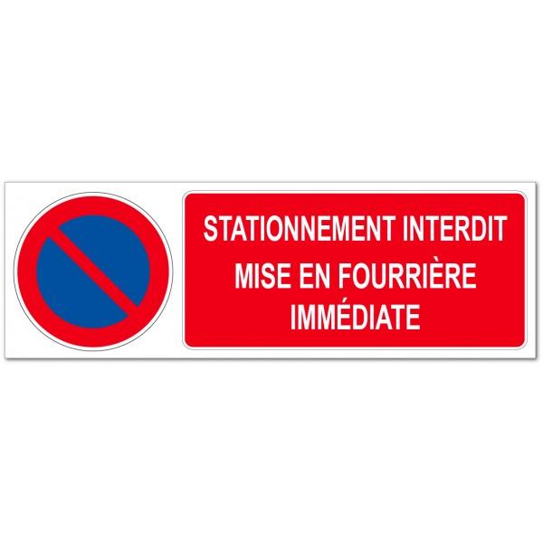 Panneau ou adhésif interdit de stationner, mise e...
