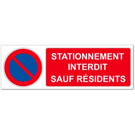 Panneau ou autocollant stationnement interdit sauf résidents