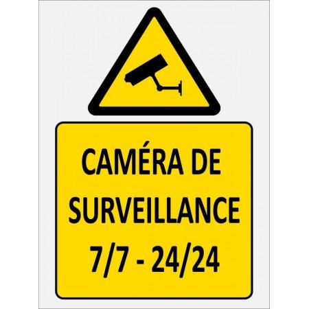 Autocollant ou panneau caméra de surveillance 7 jours sur 7, 24 heurs sur 24