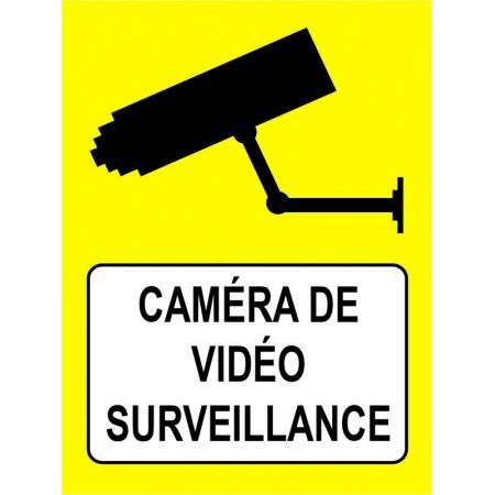 Autocollant ou panneau caméra de surveillance fond jaune