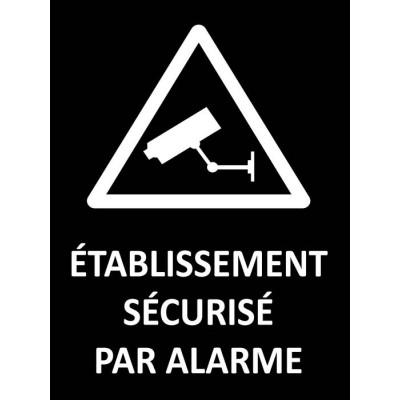 Etablissement sécurisé par alarme fond noir, aut...