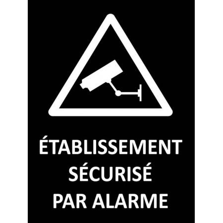 Etablissement sécurisé par alarme fond noir, autocollant ou panneau