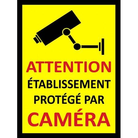 Autocollant et panneau établissement protégé par caméras