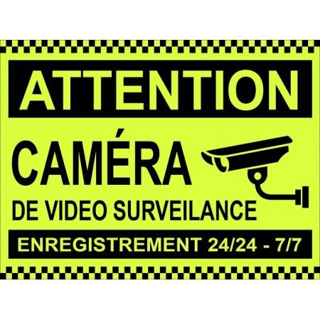 Autocollant ou panneau contre cambriolage site protégé par caméra de surveillance 24h sur 24h, 7 jours sur 7