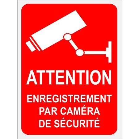 Pictogramme caméra sur fond rouge, autocollant et panneau