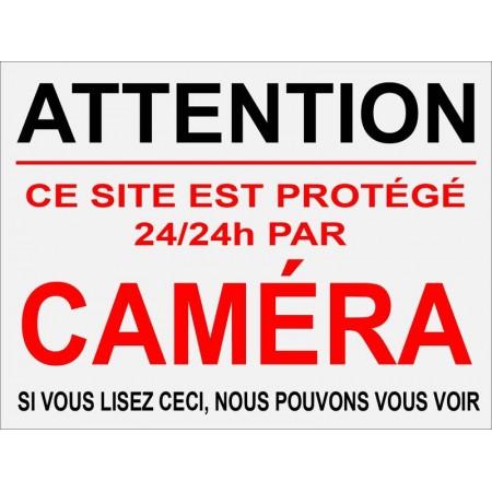 Autocollant et plaque contre cambriolage, site protégé par alarme et caméra de vidéo surveillance