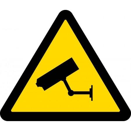 Adhésif ou panneau de sécurité pictogramme de sécurité caméra fond jaune