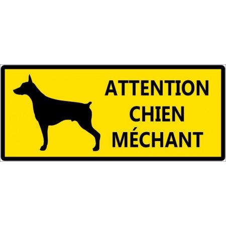 Attention chien méchant fond jaune autocollant ou panneau