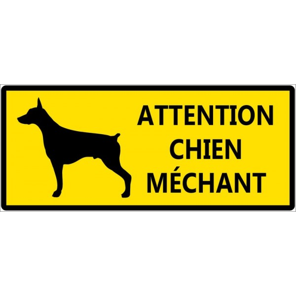 Attention chien méchant fond jaune autocollant ou...