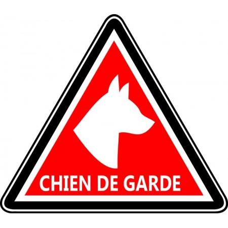 Autocollant et panneau triangle d'avertissement chien de garde rouge