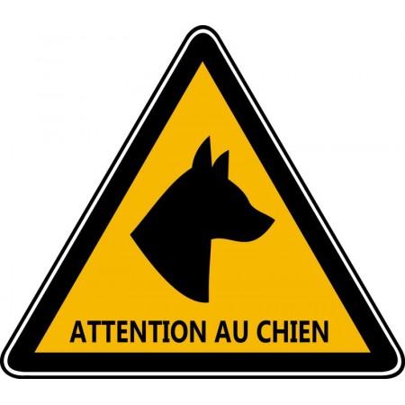 Autocollant et panneau triangle d'avertissement contre voleur, présence d'un chien de garde