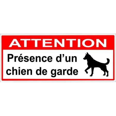Attention présence d'un chien de garde dans la maison autocollant ou panneau