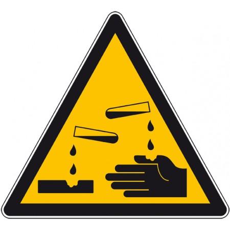 Panneau ou autocollant danger produit corrosif