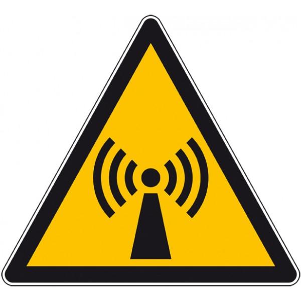 Panneau ou autocollant danger radiation non ionisa...