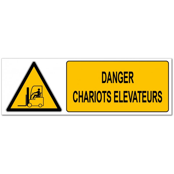 Danger circulation de chariots élévateur, affich...