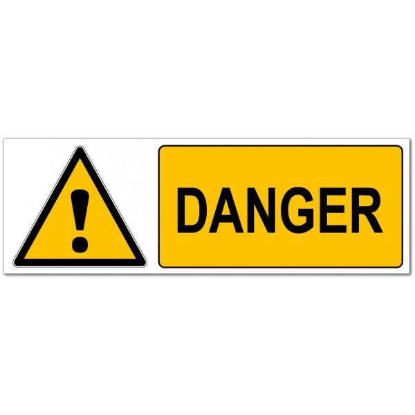 Panneau et autocollant danger triangle et point d'...