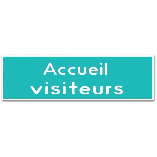 Panneau et autocollant accueil Visiteurs - 9 coloris au choix