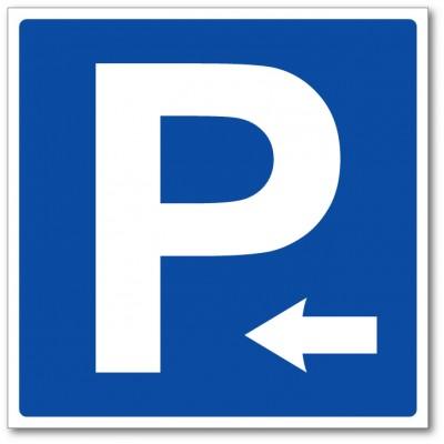 Panneau et autocollant parking direction gauche