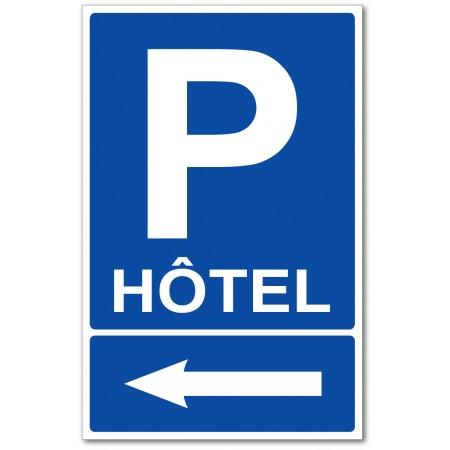 Flèche indication parking hôtel sur la gauche