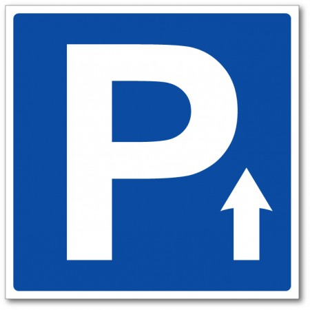 Panneau et autocollant flèche directionnelle parking