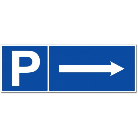 Panneau ou autocollant de signalisation parking flèche à droite