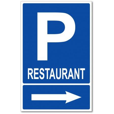 Panneau ou autocollant flèche d'indication parking restaurant
