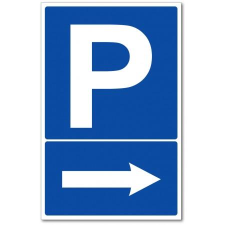 Parking à droite panneau et autocollant