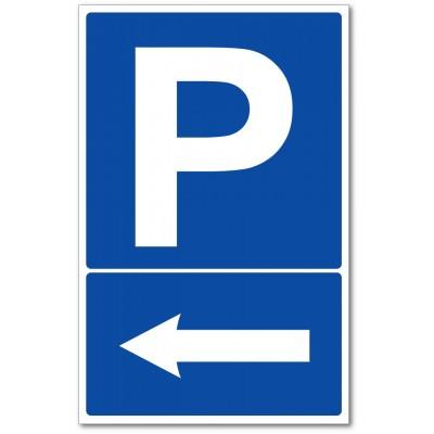 Parking flèche à gauche autocollant et panneau