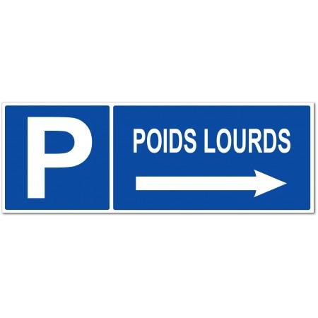 Panneau et autocollant direction parking poids lourds sur la droite