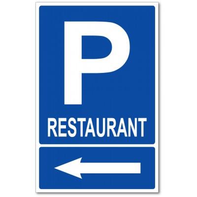 Parking restaurant sur la gauche panneau et autoco...