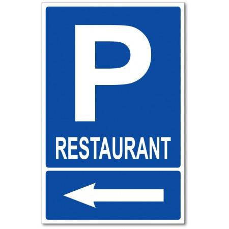 Parking restaurant sur la gauche panneau et autocollant