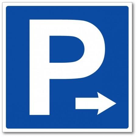 Panneau et autocollant flèche parking sur la droite