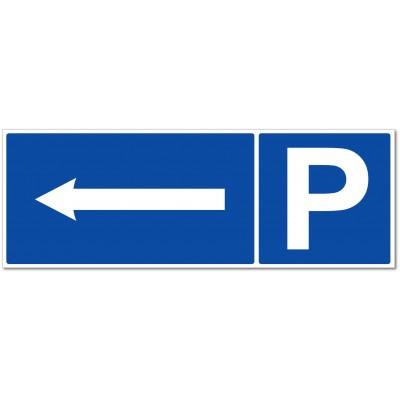 Panneau et autocollant parking direction à gauche
