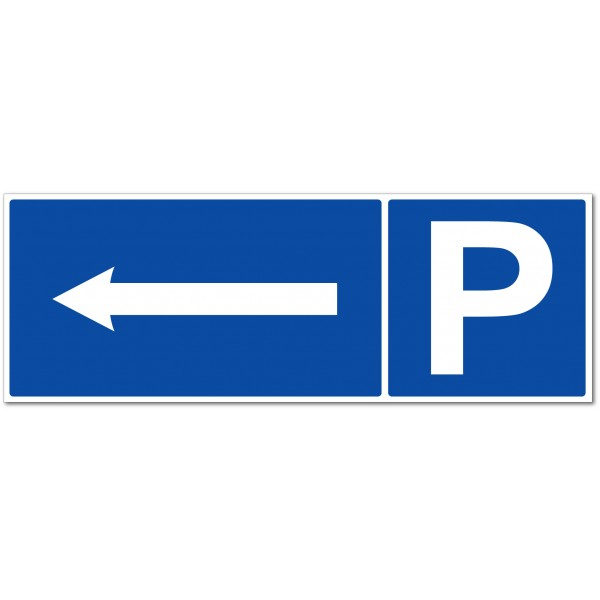 Panneau ou autocollant parking direction à gauche