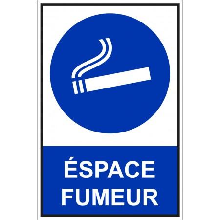 Panneau et autocollant de signalisation espace fumeur
