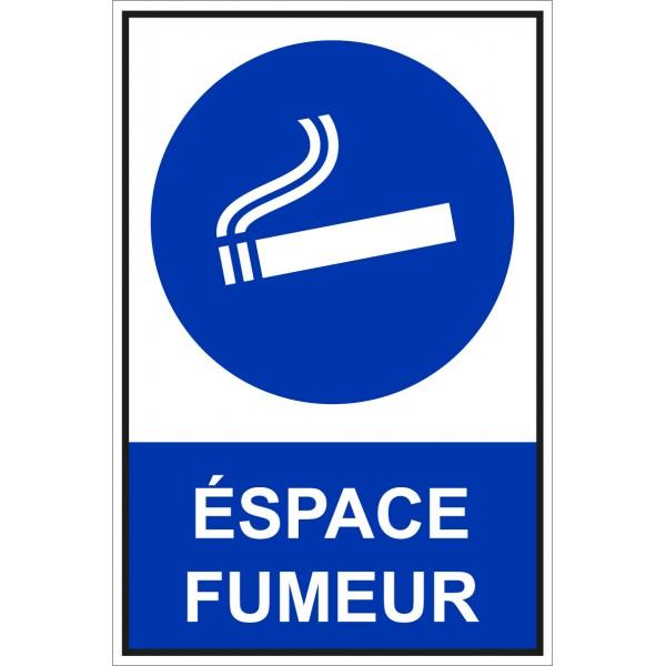 Panneau et autocollant de signalisation espace fum...