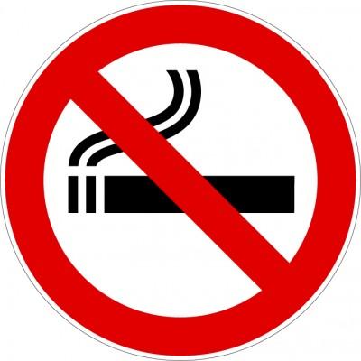 Pictogramme interdit de fumer en autocollant ou pl...