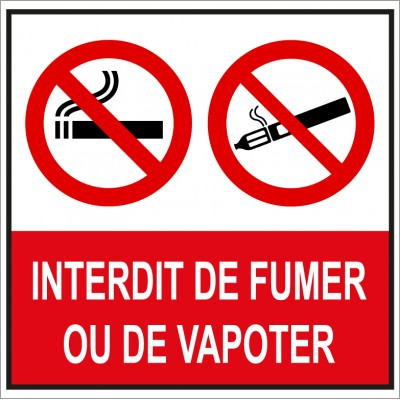 Plaque et autocollant carré interdit de fumer et ...