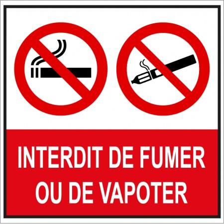 Plaque ou autocollant carré interdit de fumer et de vapoter