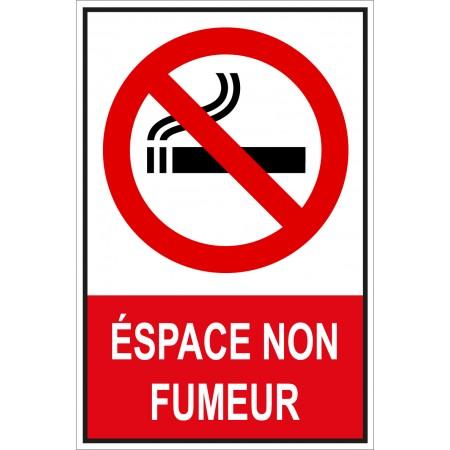 Panneau ou autocollant de signalisation espace non fumeur